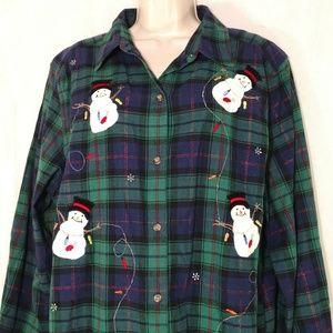 Victoria Jones Christmas Plaid Shirt Snowman 1X